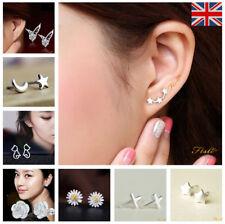 925 Sterling Silver 3 Star Stud Earrings Ear Jewellery Women UK Seller