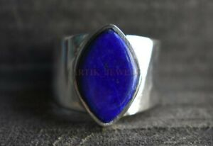 Natural Lapis Lazuli Gemstone with 925 Sterling Silver Ring for Men's #980