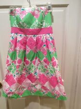 Lilly Pulitzer Pink & Green Strapless Sundress, Size 0. Lined, Cotton. Nice!