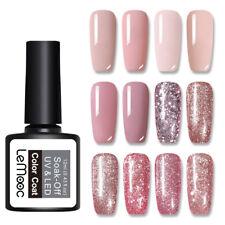 Esmalte Gel UV Uñas lemooc 12ml Rosa Oro Lentejuelas Soak Off Nail Art barniz gel