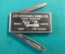 "Vintage Advertising Money Clip Pocket Knife ""Les Bertram & Sons LTD"""