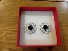 Brand New silver look flower earrings with a black  pearl centre + box