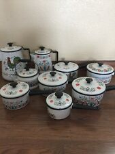 Large Lot Vintage Berggren Pots Pans Tea Coffee Pots Rooster Sweedish Enamelware