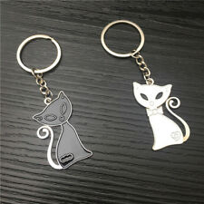 Black And White Cat Shape Couple Key Chain Valentine's Day For Couple Lover S
