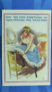 Saucy Comic Postcard 1910's Silk Stockings Boobs Corset Girdle XMAS STOCKING