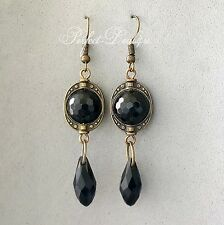 Long Black Earrings Black Onyx Agate Vintage Style Bronze Faceted Cute Earrings
