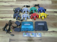 Nintendo 64 Console Clear Blue & Black w/8controller Cable Gamecartridge o822