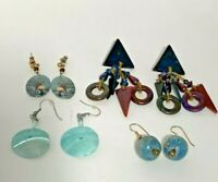 4 Pair Vintage pierced Earrings drop dangle lot Fashion Elk, Blue Shapes
