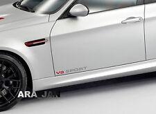 V8 SPORT Vinyl Decal racing speed car emblem logo skirt door sticker SILVER/RED