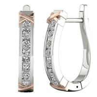Channel Set Hoops Earrings VS1 E 0.90 Ct Natural Round Diamond 14K Two-Tone Gold