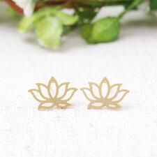 Gold Dipped Lotus Flower Earrings front back earring set, Flower Stud