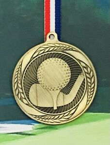 Golf Medal 3D in Antique Gold with Ribbon + FREE LASER Engraving