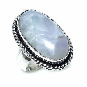 Rainbow Moonstone Gemstone Handmade  925 Silver Ring Size 8