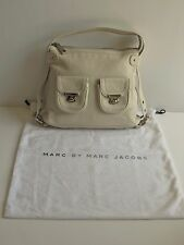 MARC JACOBS Italy New $795 Ivory Leather Front Pockets Buckle Strap Med Hobo Bag