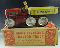 "MARX 1950""s MARX GIANT REVERSING TRACTOR TRUCK WINDUP TOY 14'' TIN MIB ORIGINAL"