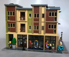 LEGO CUSTOM MODULAR APARTMENT BUILDING - 4 SHOPS, ATM, LAUNDRY, & 11 APARTMENTS