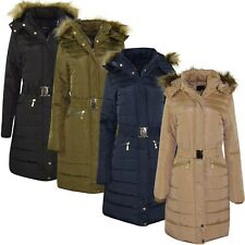 Women's Designer Winter Parker Quilted Coat Fur Hooded Long Ladies Outerwear Jkt