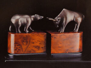 Bookends bull bear bronzed brass wall street new Bey Berk
