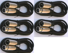 5 lot 15ft xlr male to female 3pin MIC Shielded Cable microphone audio cord pack