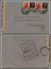 RSI-Due 30c Soprastampati+Due 20c Monumenti(496+492)-Busta Genova 3.10.1944