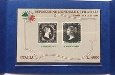 ITALIA 1985 BLOCCO FOGLIETTO NUMERO 1 ESPOSIZIONE MONDIALE FILATELIA IN FOLDER