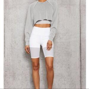 NEW Alo High Waist Lavish Mesh Layered Biker Shorts - White - XS