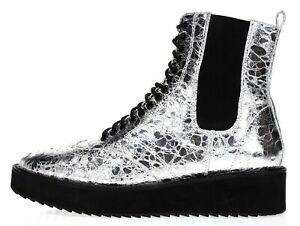 SHELLYS LONDON Women's 'Lily' Graphite Crinkle Leather Platform Boots Size 6.5
