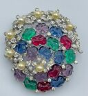 JOMAZ MAZER WITH FAUX EMERALDS, SAPPHIRES, AMETHYSTS, RUBIES & PEARLS BROOCH PIN