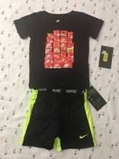 Nike T Shirt Shorts 2 piece Boys Athletic Short Sleeve 18 Black