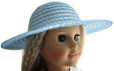 "Doll Clothes fits 18"" American Girl Blue Straw Hat Bonnet Accessories"