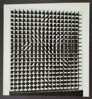 """Victor Vasarely """"Tlinko"""" Mounted b/w Offset Lithograph 1971"""