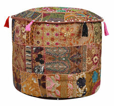Indian Vintage Pouf Ottoman Round Pouffe Ethnic Foot Stool Cover Decorative