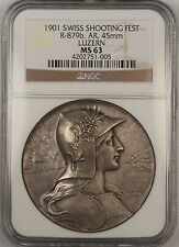 1901 Luzern Switzerland Silver Swiss Shooting Festival Medal R-879b NGC MS-63