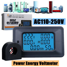 AC 110-250V 100A Digital LCD Panel Meter Monitor Power Energy Ammeter Voltmeter