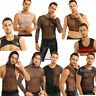 Men's Mesh Top T-Shirt Fishnet See-through GYM Muscle Tank Top Clubwear Hoodies