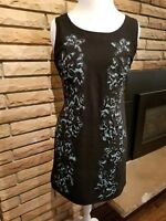 SPARKLE AND FADE Black Sheath Dress with Embroidered Floral Design Size Large