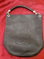Chanel CC Logo Tote Hand Bag Purse Black Vintage