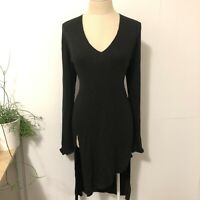 MAXIM Size L Jumper Dress Charcoal High Slit Long Sleeve