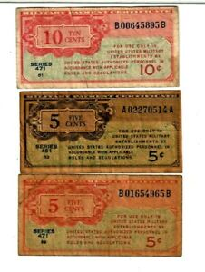 """3 FOR 1 """"MILITARY PAYMENT NOTES""""   3 FOR 1 """"ASSORTED""""  3 FOR 1 MONEY!!! NICE!"""