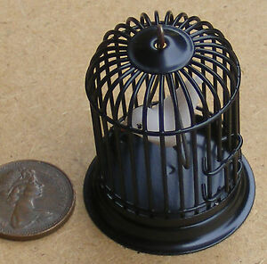 1:12 Scale Black Metal Cage With A Bird Tumdee Dolls House Miniature Pet