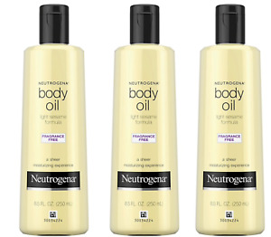 3X Neutrogena Body Oil Light Sesame Formula Fragrance Free 250mL/8.5oz
