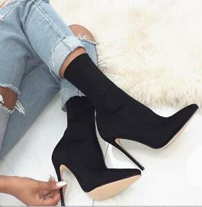 Ladies Solid Sock Stretchy Pumps Pointy Toe Stiletto Heel Mid Calf Boots New