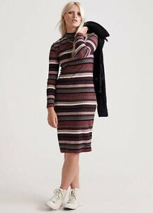 Superdry NWT UK size 6 multi striped knitted midi ribbed jumper dress *