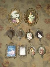 5 + Five Pair Vintage Brass Glass Framed Pictures Italy * Minature Sets - NICE !