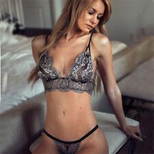 Sexy Womens Lace Bralette Bralet Bra Bustier Crop Top Cami Tank + Underwear Set