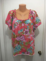 Caribbean Joe island supply womens Hawaiian crocheted neck shirt floral 2x