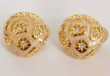 Swarovski Crystal - Gold Enamel & Crystal Clip-on Earrings w/ Black Velvet Pouch
