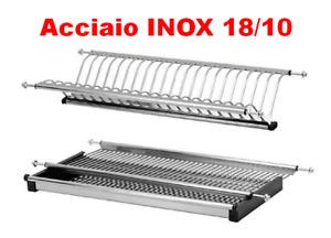 SCOLAPIATTI ACCIAIO INOX 18/10 AISI 304 DA 86 CM PER PENSILI DA 90 CM A MOLLE
