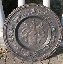 ANCIEN  GRAND 69 CM MÉDAILLON CUIVRE MARTELÉ XIXème DÉCOR ÉCU ARMOIRIES D1825
