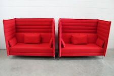 "Mint Pair of Vitra ""Alcove"" Highback Loveseats in Pristine Red ""Credo"" Fabric"